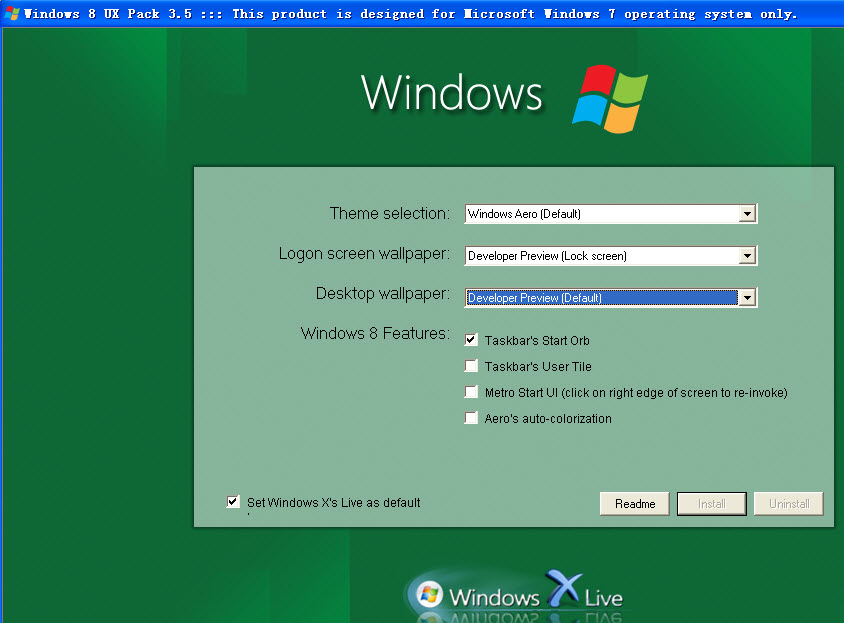 win7体验win8主题(Windows 8 UX Pack) v9.1 安装版