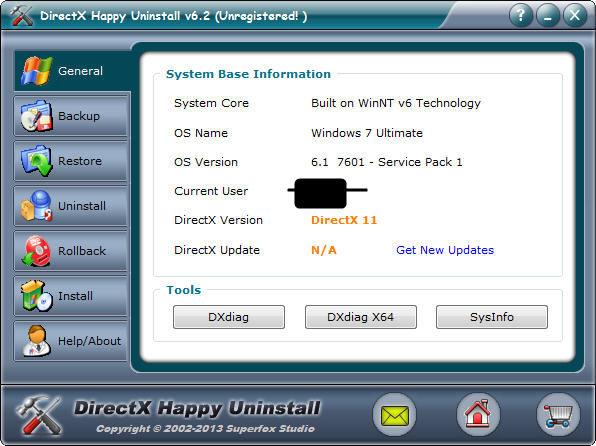 directx卸载工具(DirectX Happy Uninstall) v6.2 绿色版