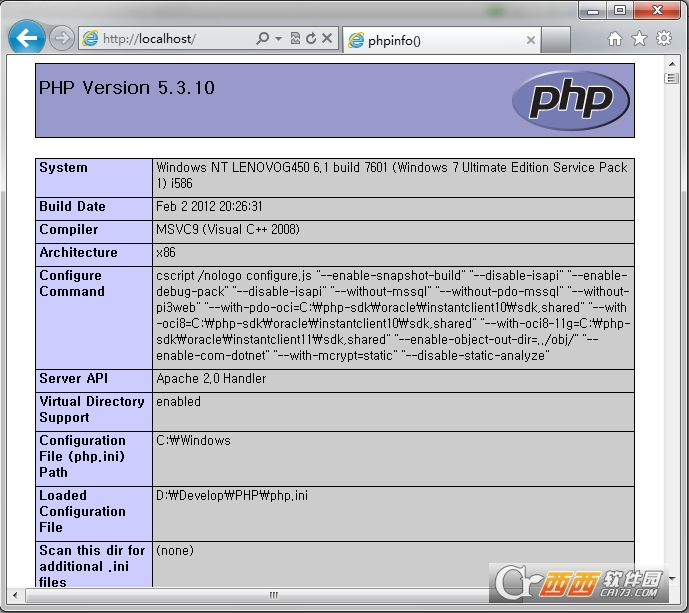 PHP v5.6.30 for Win32