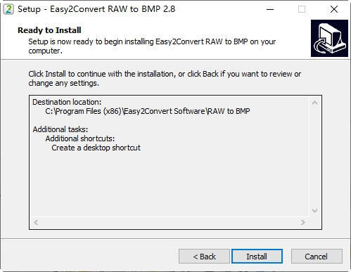 RAW转BMP工具Easy2Convert RAW to BMP